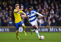 Football - 2018 / 2019 FA Cup - Third Round: Queens Park Rangers vs. Leeds United<br /> <br /> Queens Park Rangers' Osman Kakay holds off the challenge from Leeds United's Ezgjan Alioski, at Loftus Road.<br /> <br /> COLORSPORT/ASHLEY WESTERN