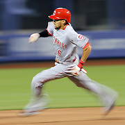 NEW YORK, NEW YORK - APRIL 26:  Billy Hamilton #6 of the Cincinnati Reds running to second base during the New York Mets Vs Cincinnati Reds MLB regular season game at Citi Field on April 26, 2016 in New York City. (Photo by Tim Clayton/Corbis via Getty Images)