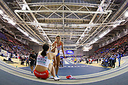 Dafne Schippers (Netherlands), second place, gives Ewa Swoboda (Poland), first place, a helping hand after 60m Women Final, during the European Athletics Indoor Championships 2019 at Emirates Arena, Glasgow, United Kingdom on 1 March 2019.