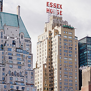 New York Cityscape from Central Park in winter. Essex House Building