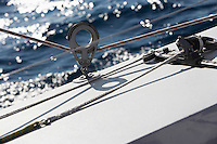 Rope winch on yacht close-up
