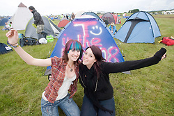 Kirspyn Fordyce and Kirsty Munro. T in the Park 2008 opens the gates at 2pm to early campers, so they can enjoy the festival for an extra night..T in the Park 2008 festival took place on the Friday 10th July, Saturday 11th July and Sunday 12th July, at Balado, near Kinross in Perth and Kinross, Scotland..Pic ©Michael Schofield. All Rights Reserved..