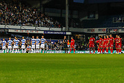 Queens Park Rangers and Bristol City players line up during the penalty shoot-out, Referee Andy Davies blows the whistle, during the EFL Cup match between Queens Park Rangers and Bristol City at the Kiyan Prince Foundation Stadium, London, England on 13 August 2019.