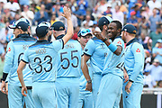Wicket - Jofra Archer of England celebrates taking the wicket of Glenn Maxwell of Australia during the ICC Cricket World Cup 2019 semi final match between Australia and England at Edgbaston, Birmingham, United Kingdom on 11 July 2019.