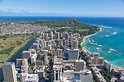 Aerial, Waikiki, Honolulu, Oahu, Hawaii