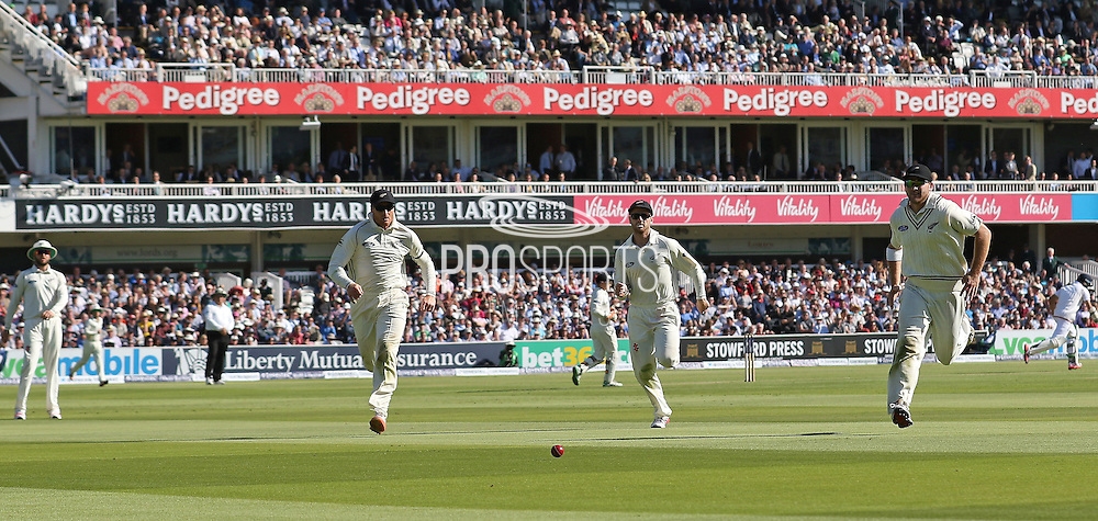 New Zealand Corey Anderson chases the ball to save four runs during the first day of the Investec 1st Test  match between England and New Zealand at Lord's Cricket Ground, St John's Wood, United Kingdom on 21 May 2015. Photo by Ellie  Hoad.