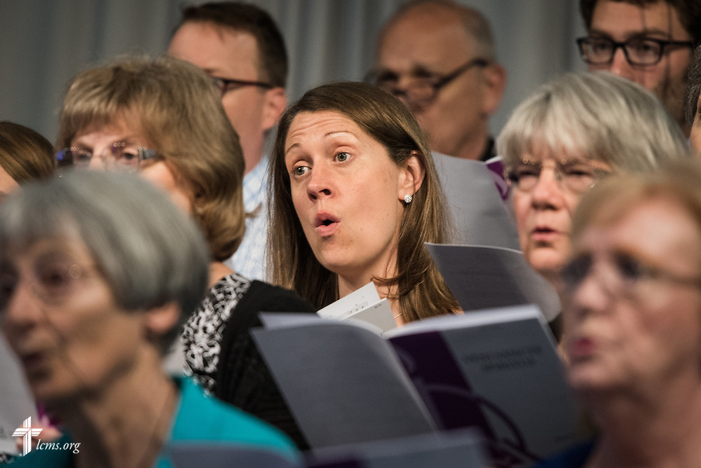 Choir members sing during theOpening Divine Service of the 66th Regular Convention of The Lutheran Church–Missouri Synod on Saturday, July 9, 2016, at the Wisconsin Center in Milwaukee. LCMS/Frank Kohn