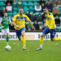 Hibs v St Johnstone...21.01.12<br /> Lee Croft and Marcus Haber break away.<br /> Picture by Graeme Hart.<br /> Copyright Perthshire Picture Agency<br /> Tel: 01738 623350  Mobile: 07990 594431