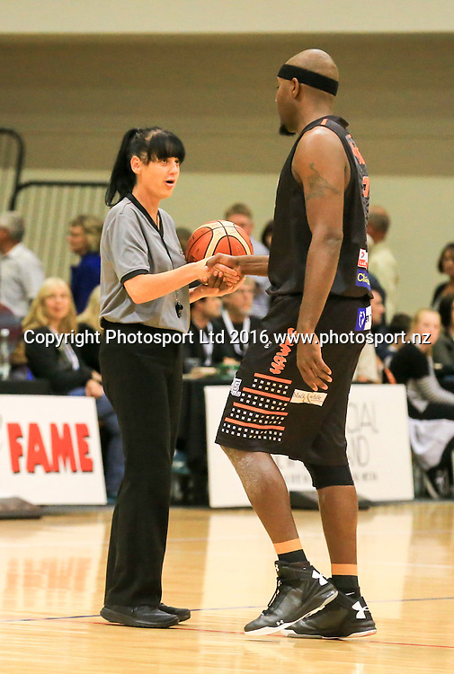 Referee Melony Wealleans is congratulated on her 300th game. Hawkes Bay Hawks v Taranaki Mountainairs, NBL basketball, PG Arena, Napier, New Zealand. Sunday, 13 March 2016. Copyright photo: John Cowpland / www.photosport.nz