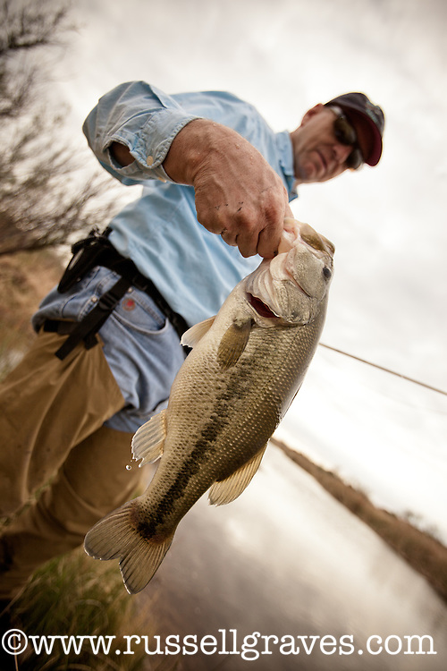 FLY ANGLER FISHING IN THE PEASE RIVER IN TEXAS HOLDING A LARGEMOUTH BASS