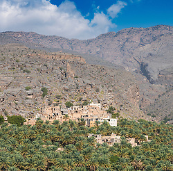 View of traditional old village at Misfat al Abryeen in Oman