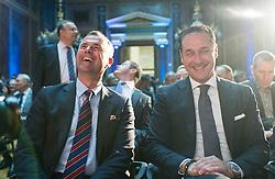 04.05.2015, Parlament, Wien, AUT, FPÖ, Feier anlässlich des 10 jährigen Jubiläums des Bundesparteiobmanns HC Strache. im Bild v.l.n.r. Dritter Nationalratspraesident Norbert Hofer (FPÖ) und Klubobmann FPÖ Heinz-Christian Strache // f.l.t.r. 3rd president of the national council Norbert Hofer (FPOe) and Leader of the parliamentary group FPOe Heinz Christian Strache during 10 years anniversary leader of the parlaimatary group of the austrian freedom party at Parliament in Vienna, Austria on 2015/05/04. EXPA Pictures © 2015, PhotoCredit: EXPA/ Michael Gruber