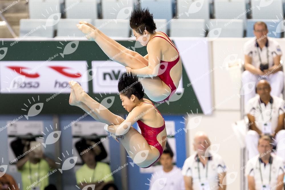 CHINA SI Yajie CHN, LIU Huixia CHN<br /> 10 m. Platform Women Synchro<br /> FINA/NVC Diving World Series 2016 Dubai<br /> Hamdan Sport Complex -Dubai United Arab Emirates U.A.E. UAE<br /> March 17 -19 2016<br /> Day 0 March 16th<br /> Photo G.Scala/Insidefoto/Deepbluemedia