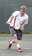 Arthur Peller, from Cincinnati competes in the first set of the finals in the 41st Weston Memorial Tennis Tournament at the Virginia Hollinger Memorial Tennis Club, Monday, May 26, 2008.  He went on to win, besting Ross Wilson, from Toledo 6-4, 6-1.