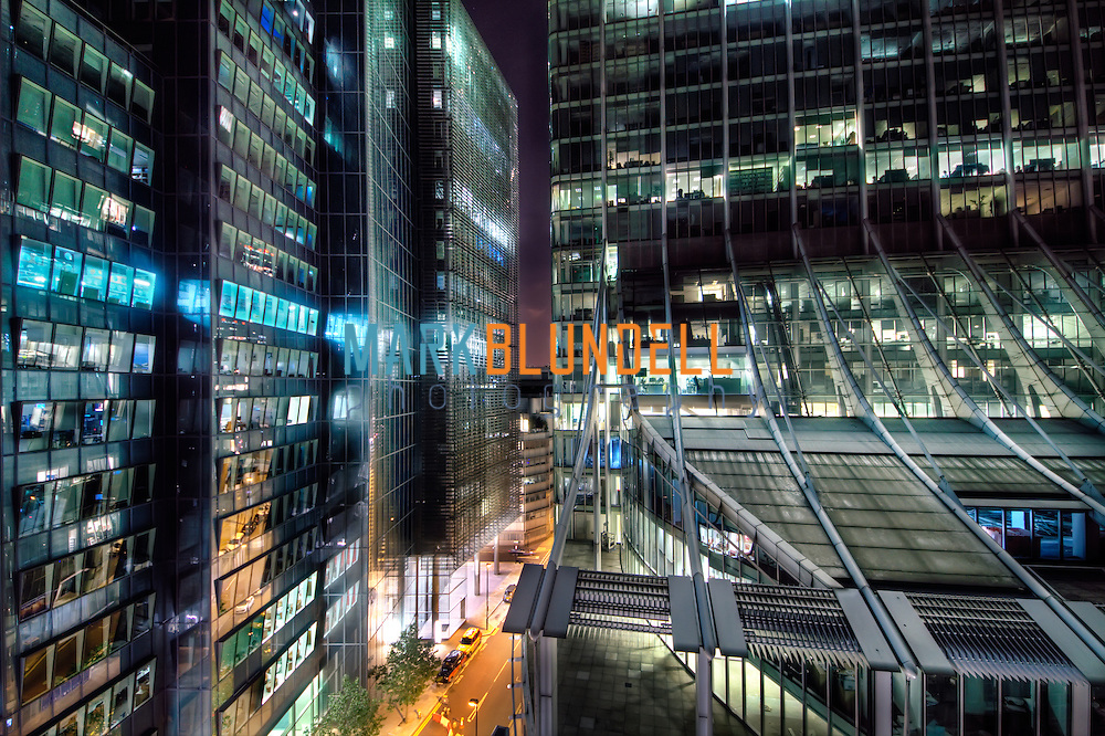 Ropemaker Place vs City Point at night in The City Of London