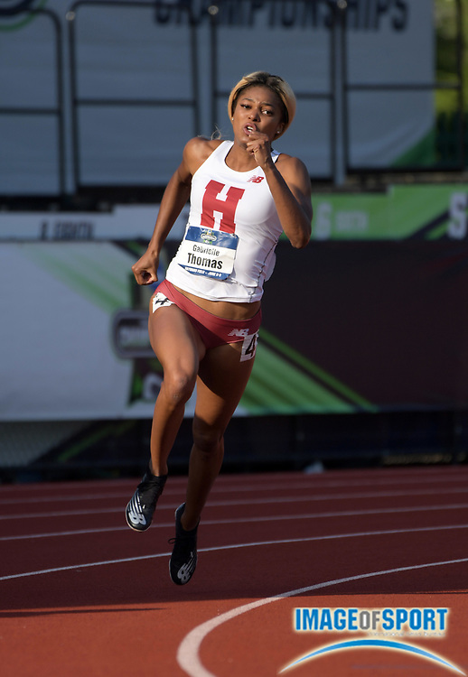 Jun 7, 2018; Eugene, OR, USA; Gabrielle Thomas of Harvard wins women's 200m heat in a wind-aided 22.36 for the top time during the NCAA Track and Field championships at Hayward Field.