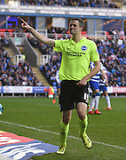 Brighton winger, Jamie Murphy (15) scores a goal and celebrates during the Sky Bet Championship match between Reading and Brighton and Hove Albion at the Madejski Stadium, Reading, England on 31 October 2015. Photo by David Charbit.