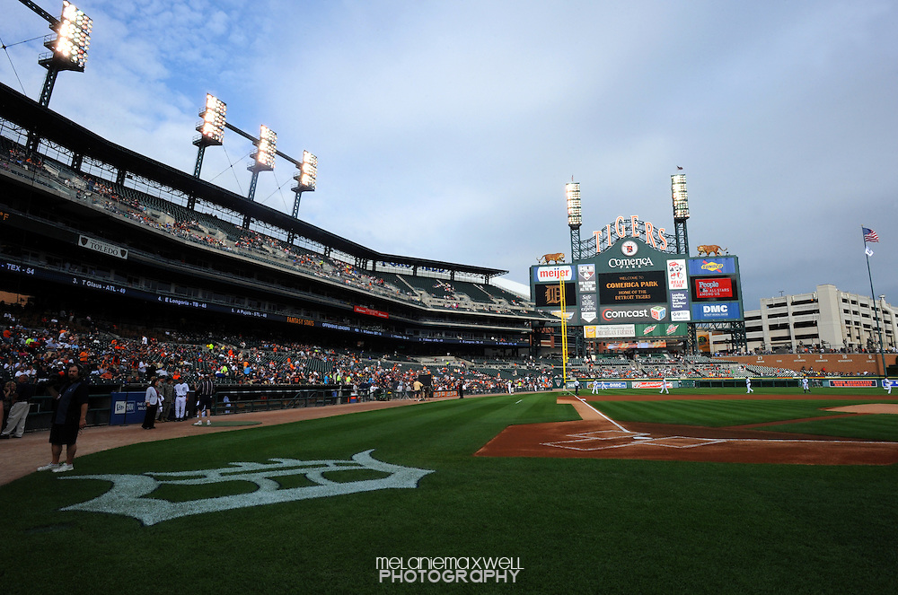 Large D logo behind home plate at field level of Comerica Park in Detroit, Michigan on Jun 15, 2010.