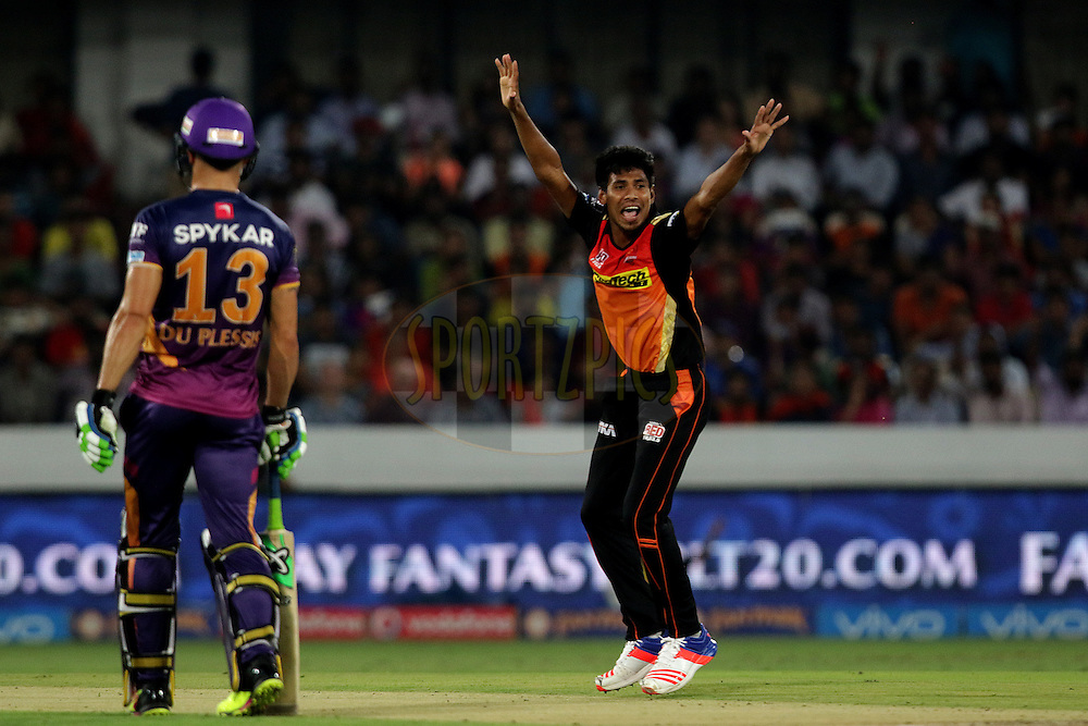 Mustafizur Rahman of Sunrisers Hyderabad appeals during match 22 of the Vivo IPL 2016 (Indian Premier League ) between the Sunrisers Hyderabad and the Rising Pune Supergiants held at the Rajiv Gandhi Intl. Cricket Stadium, Hyderabad on the 26th April 2016<br /> <br /> Photo by Rahul Gulati / IPL/ SPORTZPICS