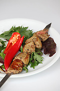 Char grilled Goose liver Shish Kebab Skewer with chilli