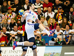 19.01.2011, Kristianstad Arena, SWE, IHF Handball Weltmeisterschaft 2011, Herren, Deutschland (GER) vs Frankreich (FRA) im Bild, // Frankrike France 13 Nikola Karabatic jumps but gets taken down by a german defender // during the IHF 2011 World Men's Handball Championship match  Germany (GER) vs France (FRA) at Kristianstad Arena, Sweden on 19/1/2011.  EXPA Pictures © 2011, PhotoCredit: EXPA/ Skycam/ Johansson +++++ ATTENTION - OUT OF SWEDEN/SWE +++++