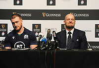 Rugby Union - 2020 Guinness Six Nations Launch Press Conference - Tobacco Dock, London<br /> <br /> Scotland coach Gregor Townsend and Captain, Stuart Hogg<br /> <br /> COLORSPORT/ANDREW COWIE