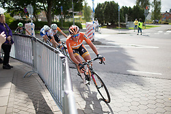 Chantal Blaak (NED) of Boels-Dolmans Cycling Team leans into the final corner of the penultimate lap around Vårgårda during the 141 km road race of the UCI Women's World Tour's 2016 Crescent Vårgårda women's road cycling race on August 21, 2016 in Vårgårda, Sweden. (Photo by Balint Hamvas/Velofocus)