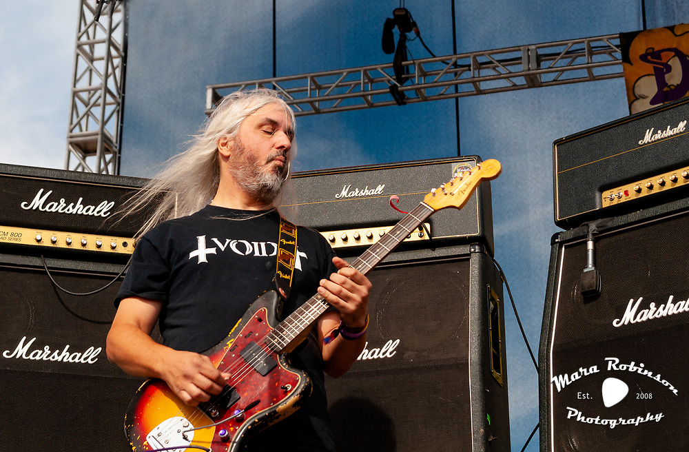 J Mascis of Dinosaur Jr live in concert at Riot Fest Chicago, 2013, photo by Ohio music photographer Mara Robinson