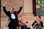 14 FEBRUARY 2012 - PHOENIX, AZ:   WAYNE NEWTON walks on stage during his show in Phoenix. Newton, who is originally from Phoenix, performed in front of the state capitol for about an hour Tuesday afternoon at the Arizona centennial. The state of Arizona marked 100 years of statehood with a free party in front of the capitol.     PHOTO BY JACK KURTZ