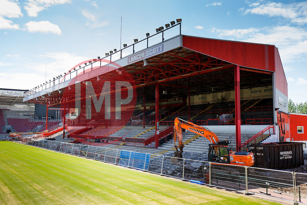 Demolition works get underway on the Williams Stand at Ashton Gate as part of the widespread stadium redevelopment programme at the home of Bristol City FC and Bristol Rugby Club - Photo mandatory by-line: Rogan Thomson/JMP - 07966 386802 - 16/06/2015 - SPORT - Bristol, England - Ashton Gate Stadium.