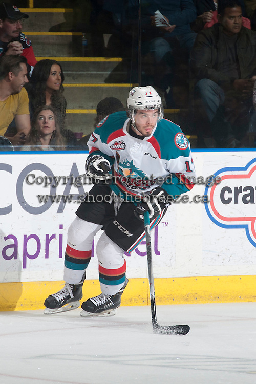 KELOWNA, CANADA - MAY 13: Rodney Southam #17 of Kelowna Rockets skates against the Brandon Wheat Kings on May 13, 2015 during game 4 of the WHL final series at Prospera Place in Kelowna, British Columbia, Canada.  (Photo by Marissa Baecker/Shoot the Breeze)  *** Local Caption *** Rodney Southam;