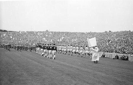 All Ireland Senior Football Final Galway v. Dublin, Croke Park..The teams marching around Croke Park .22.09.1963