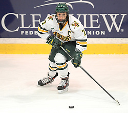 PITTSBURGH, PA - OCTOBER 14:  Rachael Ade #7 of the Vermont Catamounts passes the puck in the first period during the game against the Robert Morris Colonials at 84 Lumber Arena on October 14, 2016 in Pittsburgh, Pennsylvania. (Photo by Justin Berl)