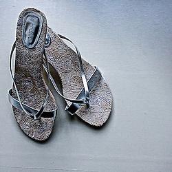 The bride's wedding sandals.