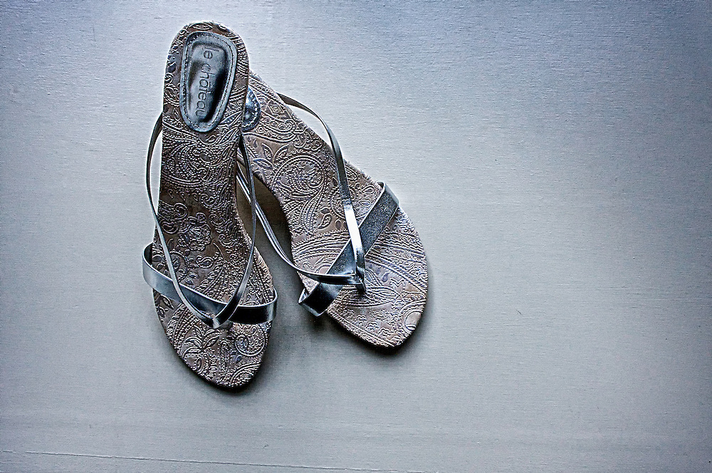 The bride's wedding sandals.