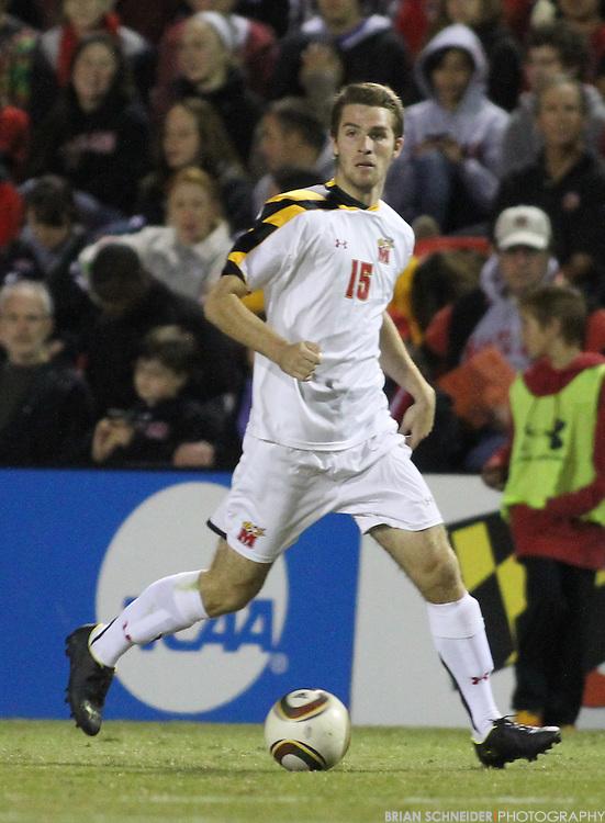 Oct 23, 2010; College Park, MD, USA; Maryland Terrapins midfielder Patrick Mullins (15) against the Wake Forest Demon Deacons. Mandatory Credit: Brian Schneider-www.ebrianschneider.com