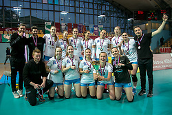 Players of Calcit Ljubljana celebrate after winning the final volleyball match between Nova KBM Branik and Calcit Volleyball Ljublana in Final of 1. DOL Slovenian Women National Championship 2016/17, on April 21, 2017 in Tabor, Maribor, Slovenia. Photo by Klemen Brumec / Sportida