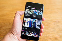 Detail of BBC iPlayer TV streaming catchup service app screen  on iPhone 6 smart phone