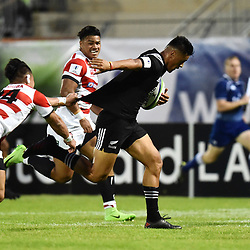 Vilimoni Koroi of New Zealand and Halatoa Vailea of Japan during the U20 World Championship match between New Zeland and Japan on May 30, 2018 in Narbonne, France. (Photo by Alexandre Dimou/Icon Sport)