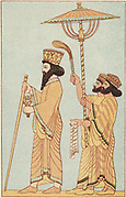 Darius I (548-486 BC) Achaemenid king of Persia from 521,  with attendants. Chromolithograph of 1881 after frieze in the citadel at Susa.