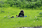 Student studies outdoors in a fresh green spring meadow. Photographed near Megido, Galilee, Israel in February