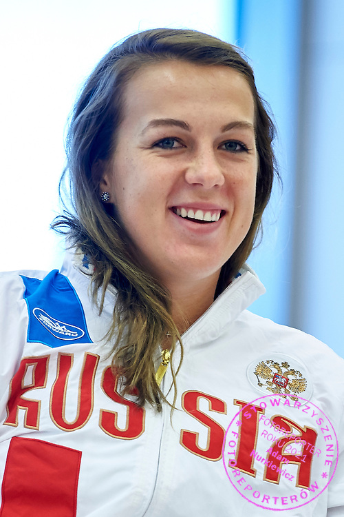 Anastasia Pavyuchenkova from Russia during official draw one day before the Fed Cup / World Group 1st round tennis match between Poland and Russia at Holiday Inn on February 6, 2015 in Cracow, Poland.<br /> <br /> Poland, Cracow, February 6, 2015<br /> <br /> Picture also available in RAW (NEF) or TIFF format on special request.<br /> <br /> For editorial use only. Any commercial or promotional use requires permission.<br /> <br /> Adam Nurkiewicz declares that he has no rights to the image of people at the photographs of his authorship.<br /> <br /> Mandatory credit:<br /> Photo by &copy; Adam Nurkiewicz / Mediasport