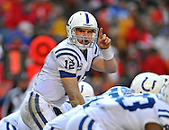 Sports Illustrated -- Quarterback Andrew Luck #12 of the Indianapolis Colts calls out a play during the second half against the Kansas City Chiefs at Arrowhead Stadium in Kansas City, Missouri.