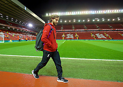 LIVERPOOL, ENGLAND - Wednesday, March 2, 2016: Liverpool's Joe Allen arrives before the Premier League match against Manchester City at Anfield. (Pic by David Rawcliffe/Propaganda)