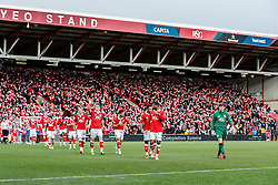 Frank Fielding of Bristol City leads his team out onto the pitch - Photo mandatory by-line: Rogan Thomson/JMP - 07966 386802 - 25/01/2015 - SPORT - FOOTBALL - Bristol, England - Ashton Gate Stadium - Bristol City v West Ham United - FA Cup Fourth Round Proper.