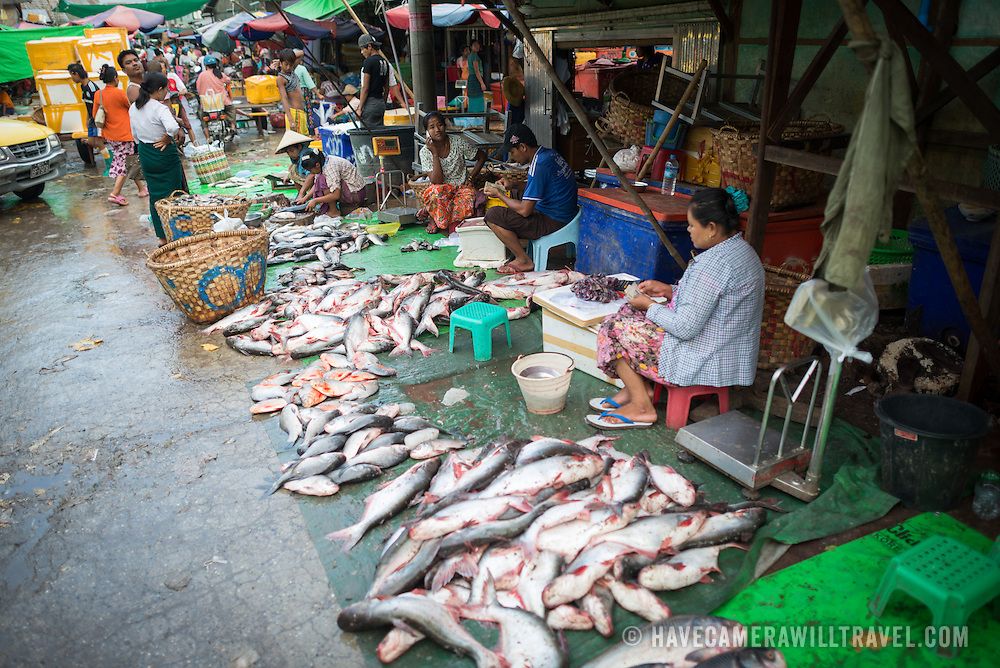 Vendors lay out their wares on the street at the fish and flower market in Mandalay, Myanmar (Burma).