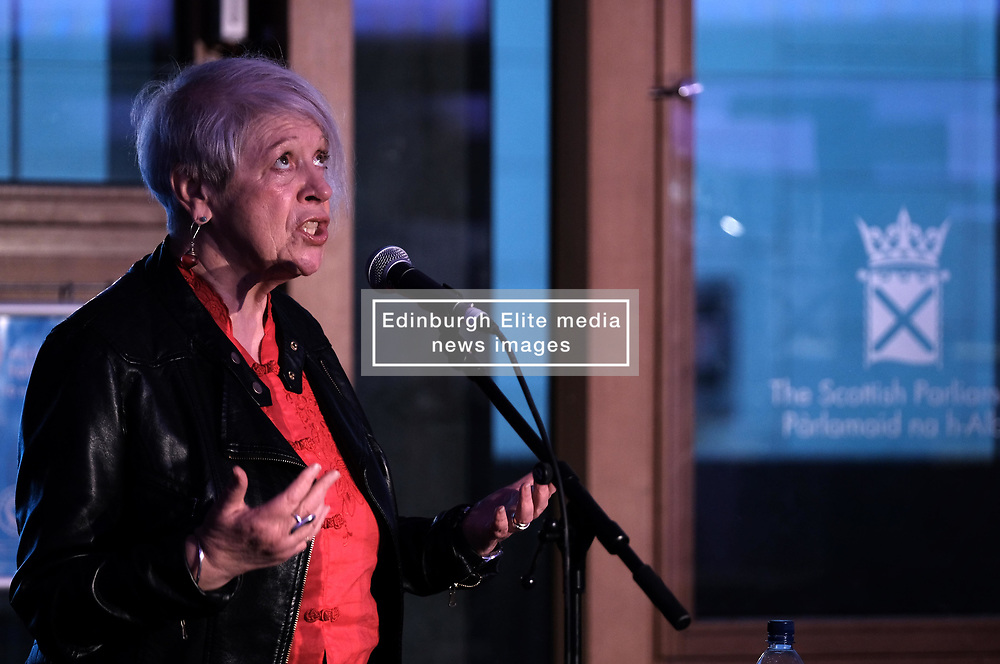"""Pictured:  Poet and writer Liz Lochhead performs her hit show """"SOMETHINGS OLD, SOMETHINGS NEW"""" at the Festival of Politics 2017 with musical backing from saxophonist Steve Kettley<br /> <br /> Alex Todd 
