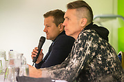 Forest Green Rovers manager, Mark Cooper and Forest Green Rovers Chairman Dale Vince during the 2018 Fans Forum for Forest Green Rovers at the New Lawn, Forest Green, United Kingdom on 30 October 2018.