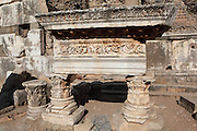 Fountain of Pollio, South of the State Agora, built 97 AD by the rich Ephesian C S Pollio and his family, Ephesus, Izmir, Turkey. The fountain provided a free water source for the people of Ephesus and has a huge arch which would have been surrounded by statues. Ephesus was an ancient Greek city founded in the 10th century BC, and later a major Roman city, on the Ionian coast near present day Selcuk. Picture by Manuel Cohen