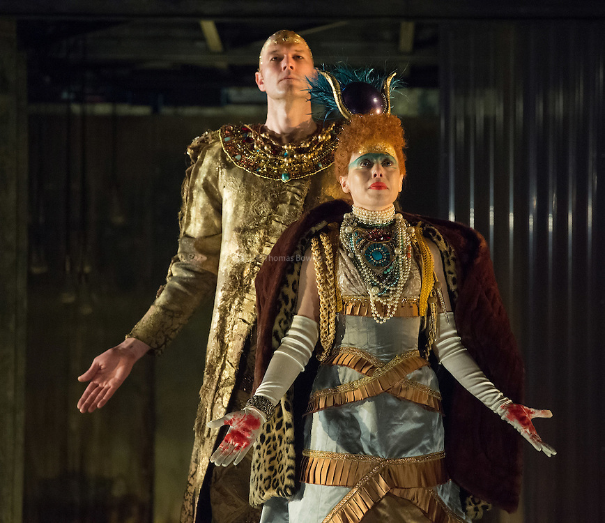 STRICT EMBARGO on images until 19.30 4th March 2016<br /> <br /> Rebecca Borrone the Queen Tye. and Zachary James as the Scribe.<br /> <br /> Akhnaten - Philip Glass performed by the English National Opera<br /> Conductor, Karen Kamensek<br /> Director, Phelim McDermott<br /> <br /> Opens 4th March 2016<br /> London Coliseum <br /> <br /> <br /> Philip McDermot Returns to the ENO to direct a once in a generation staging of Philip Glass's iconic opera.